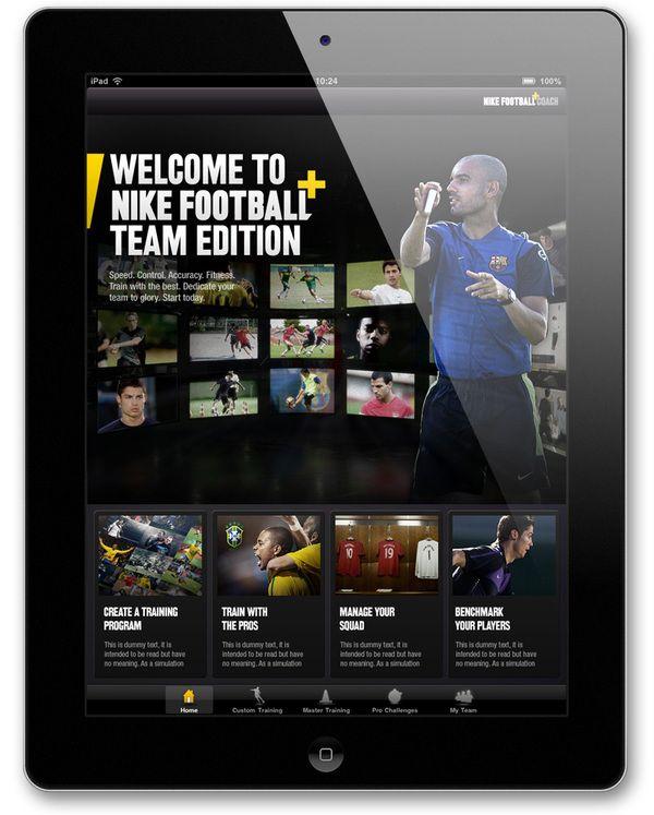 #Nike Football+ Team Edition by Rodrigo Sobral, via #Behance #Webdesign #Tablet #Digital