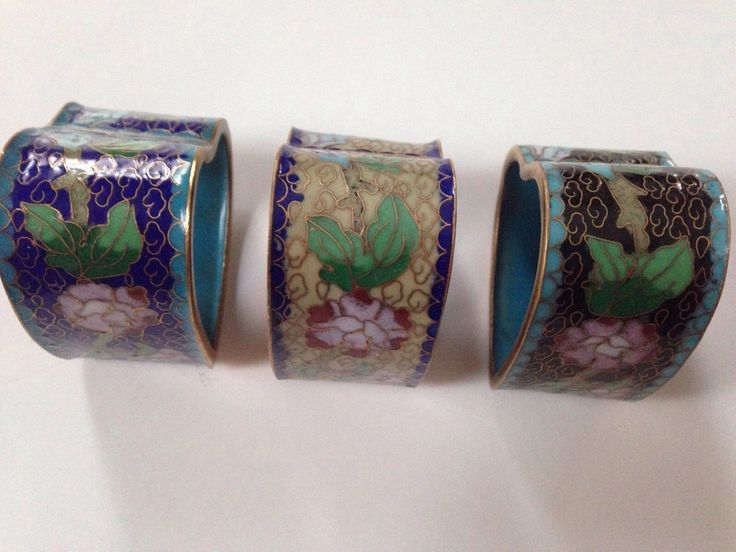 """Unusual heart shaped cloisinine Asian napkin rings. The exterior width of these napkin rings is about 2 1/8"""", and the interior width 1 7/8"""". They ar... #original #rings #napkin #cloisonne #vintage"""