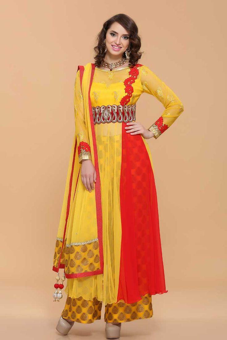 Yellow With Red Net Anarkali Suit price:-£89.00 Yellow with red net anarkali. Red side panel. Belt with resham, zari zircon & crystal work. Net dupatta & shantoon churidar. http://www.andaazfashion.co.uk/yellow-with-red-net-anarkali-suit-1672.html