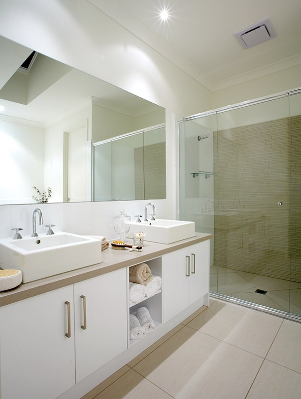 Pale ensuite- ours is nowhere near as big (none of them) but wondering if rejigging layout slightly could get a wider sink in?