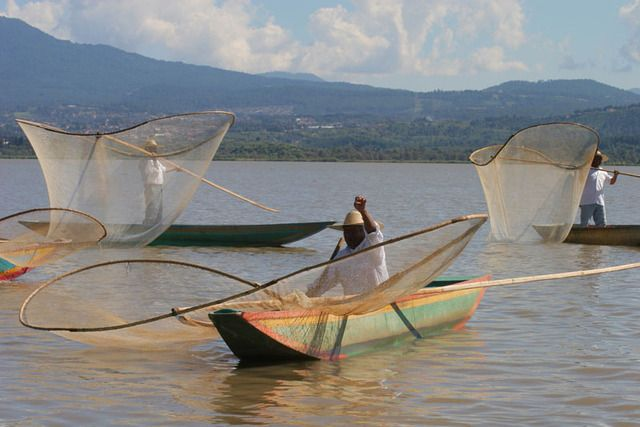 Fishermen from the Isla de Janitzio lure tourists with their demonstration of traditional fishing techniques with butterfly nets. Source article: Mexico's Dia de Muertos celebration: Is it dying?