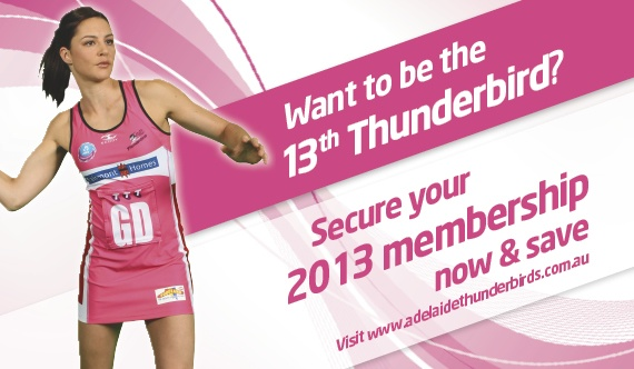 Is your daughter/sister/friend/mum the ultimate Thunderbirds fan? Why not get her an Adelaide Thunderbirds membership for christmas. Click through to check out three different types of memberships available in 2013.