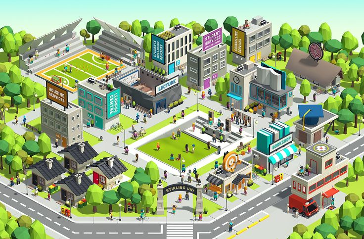 Low Poly Campus on Behance