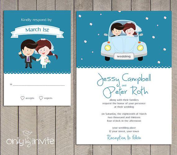 Cartoon Bride Groom Wedding Invitation