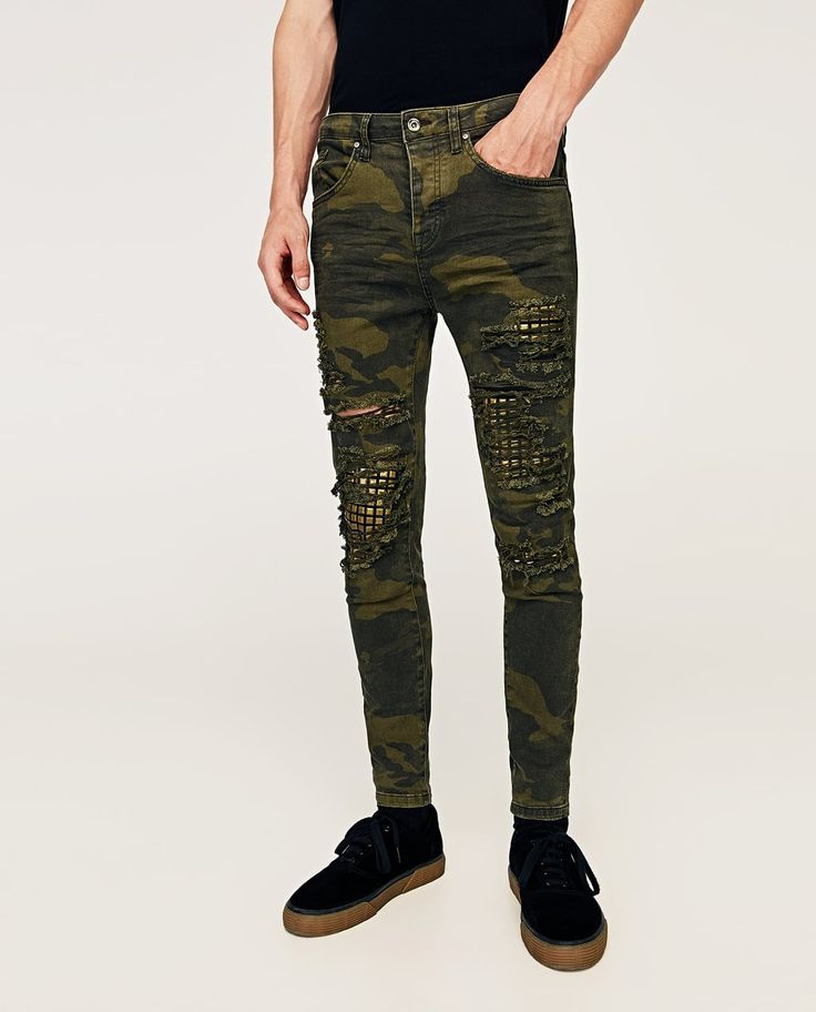 CAMOUFLAGE JEANS WITH STUDS