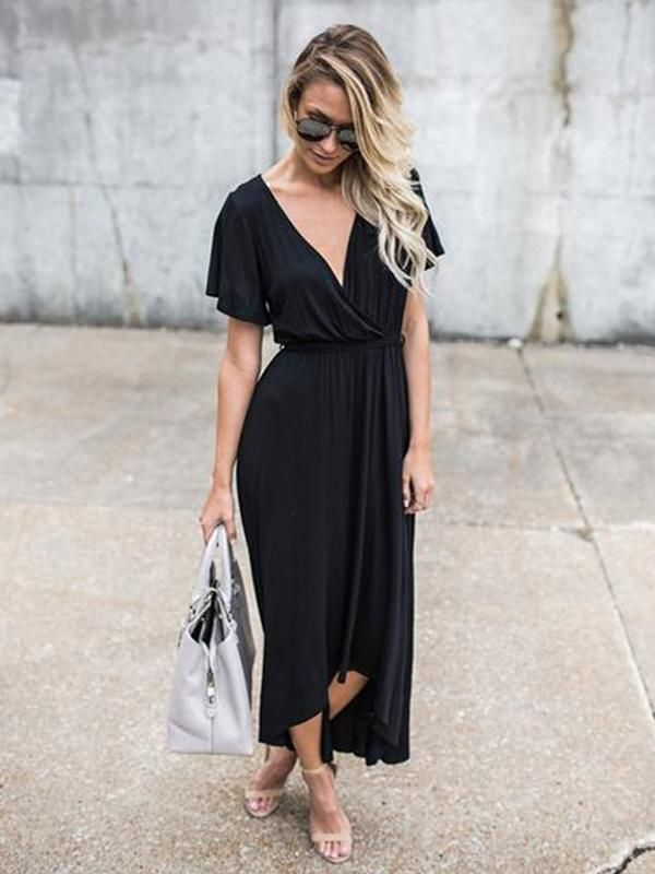 e5bcce7037f Pretty Black V-neck Asymmetric Maxi Dress – oshoplive