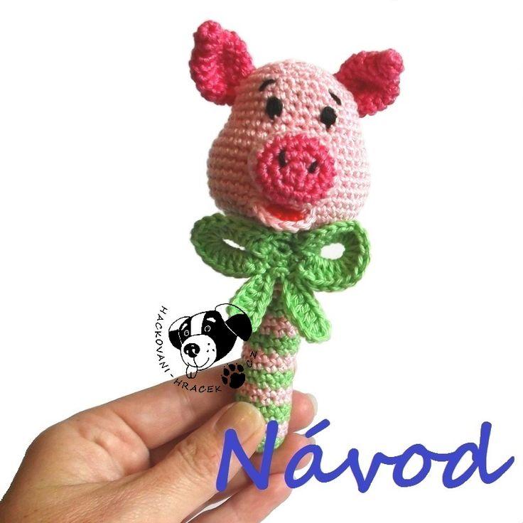 Čuník Funík - chrastítko ...... návod na háčkování (prasátko) ____________ #čuník#prase#prasátko#pig#chrastítko#rattle#háčkované#crochet#návod#pattern#PDF#hračka#toy