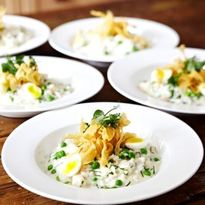 Smoked Haddock Risotto, Soft Boiled Quail Eggs, Parsnip Crisps