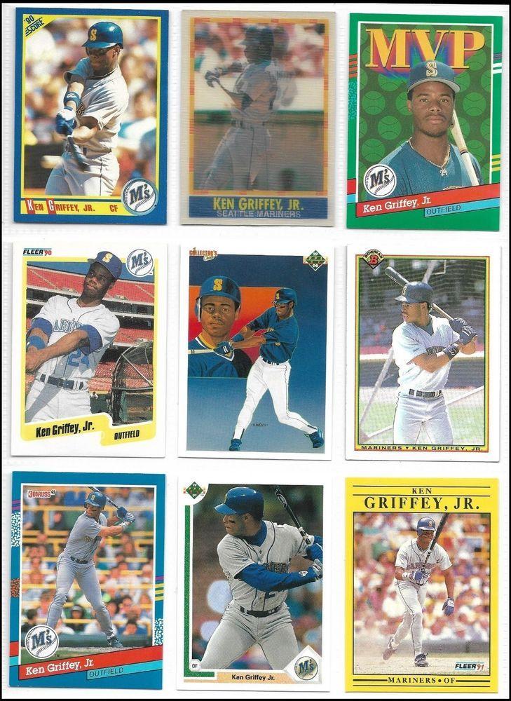 Seattle Mariners Ken Griffey Jr Baseball Card Lot Of Nine