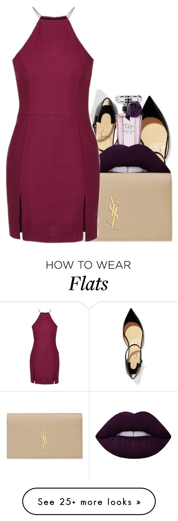 """Untitled #2333"" by c0kkiemonsterrx3 on Polyvore featuring Christian Louboutin, Lancôme, Lime Crime, Yves Saint Laurent and Topshop"