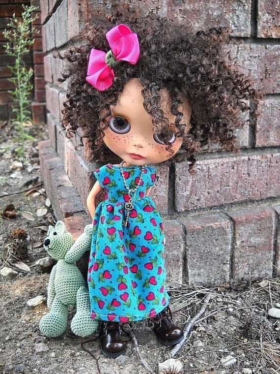 dolly molly BLUE and hearts corduroy dress and bow for BLYTHE doll