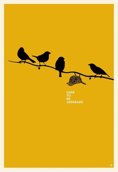 Dare To Be Different poster, Motivational minimalist poster, Bird wall art, Motivational wall art, High Quality digital file