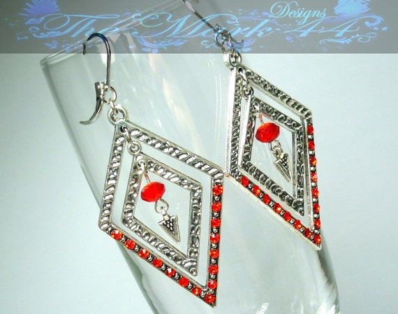 SALE 50% OFF Double Diamond Light Siam Earrings $6 on etsy  #giftsunder10 #ooak #handmade #themark44designs