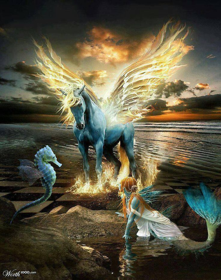 Beautiful unicorn with glowing wings.