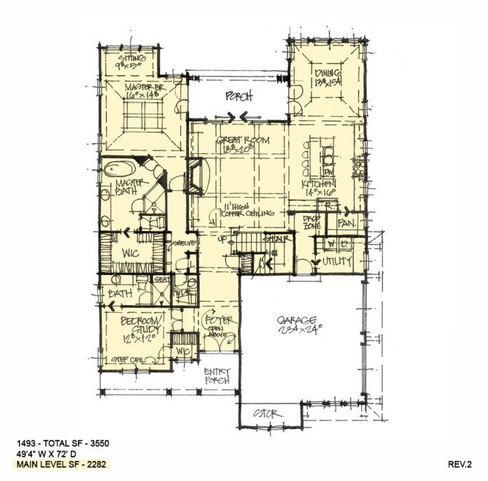 First Floor Of Conceptual House Plan 1493 House Plans Family House Plans Two Story House Plans