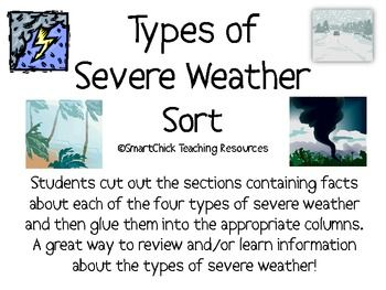 A sort activity using the four main types of severe weather (thunderstorm, tornado, hurricane, and blizzard).  Students must cut out the boxes and ...