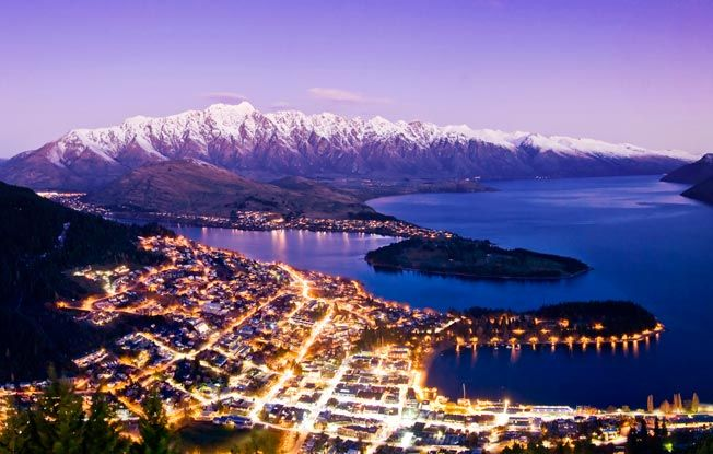 Queenstown, South Island, New Zealand - Relaxed resort town set in one of the country's finest mountain landscapes, has enough of both to keep adventurous families busy for months.    The most famous activity here is bungee jumping, but there is also river surfing, whitewater rafting, kayaking, and hiking.