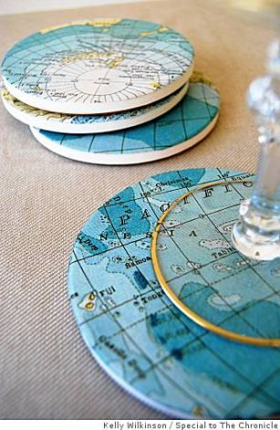 Homemade map coasters. Perfect gift for the history/social studies teacher. Pages from a book or different paperback book covers for English teacher, elements chart and molecules for the science teacher...you get the idea!: