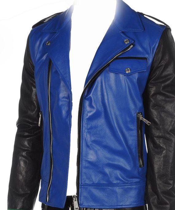 Black And Blue Leather Jacket - My Jacket