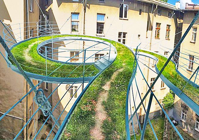 Suspended green pathway is an unexpected alternative to a balcony