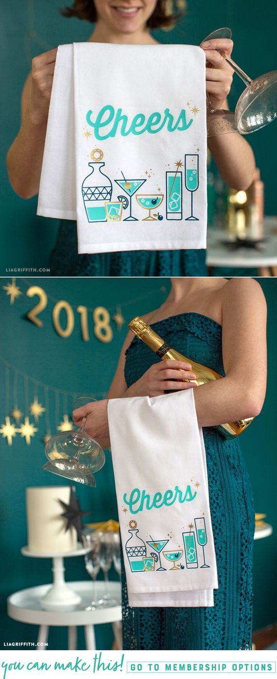 A Cocktail Iron-On Design for New Year's Eve - Lia Griffith - www.liagriffith.com #newyears #newyearseve #diyparty #nye #diynewyears #ironon #vinyl #diyvinyl #madewithlia