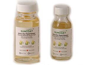 Suncoat nail polish remover - This polish remover has no alcohol, acetone or acetate. It has a corn and soy oil base.