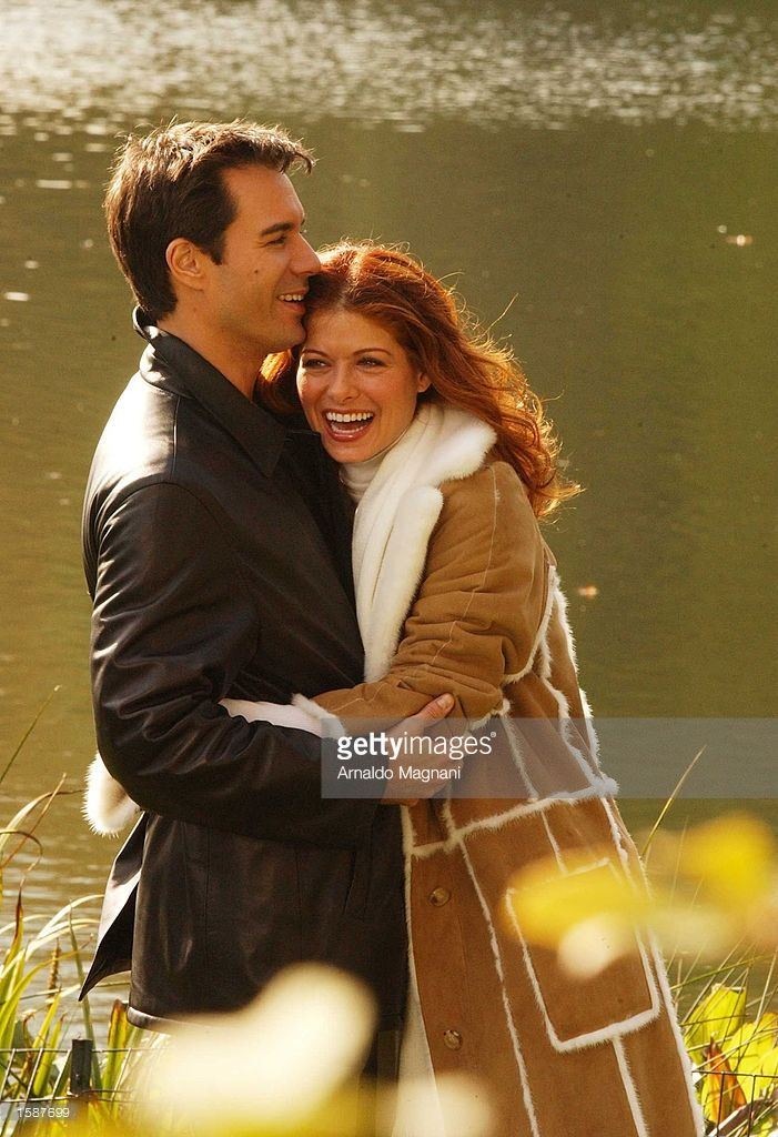 Actors Debra Messing and Eric McCormack work on the set of 'Will and Grace' in Central Park November 4, 2002 in New York City.