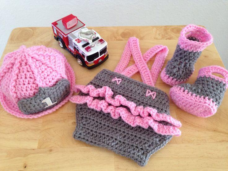 Baby Girl Firefighter Fireman Hat 4pc Ruffled by CarynsYarnBasket, $65.00
