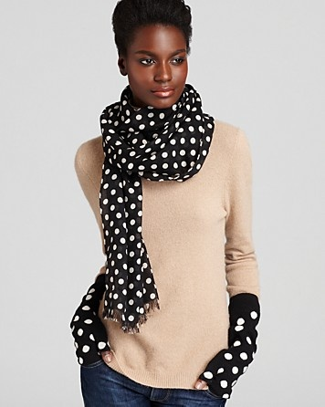 kate spade new york Polka Dot Scarf & Gloves | Bloomingdale's