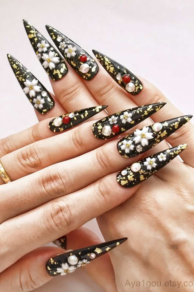 Black sharp nails with white floral design | Pointy nails ...