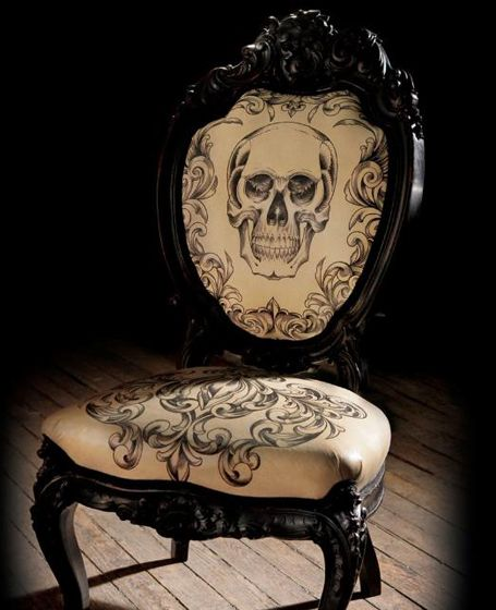 Skull filigree chair by tattoo artist Scott Campbell - 2011 in Review: Vintage and Victorian-Inspired Interiors | EcoSalon | Conscious Culture and Fashion