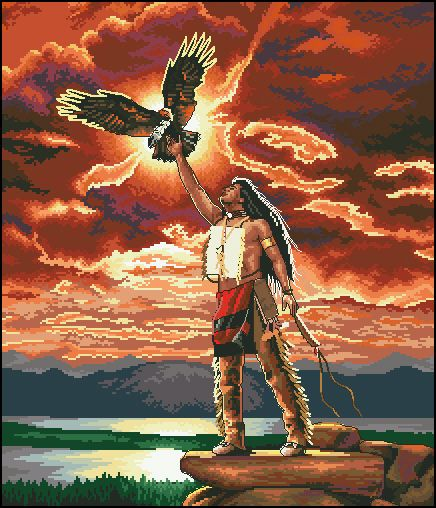 cs-2095 Cross Stitch Kit Gift of the Eagle Feather Red Sky Man Bird 03897 3897