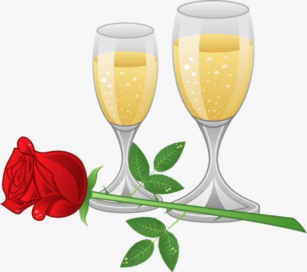 Champagne Rose, Cartoon Champagne, Cartoon Rose, Romantic PNG Image