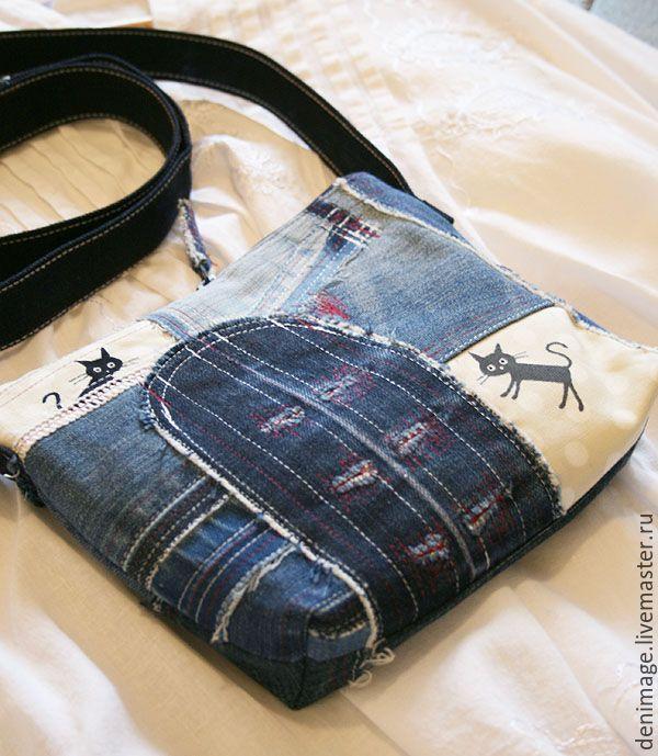 """Купить Джинсовая сумка """"Летние коты 2"""" - джинсовая сумка, сумка с котами, черный кот"""