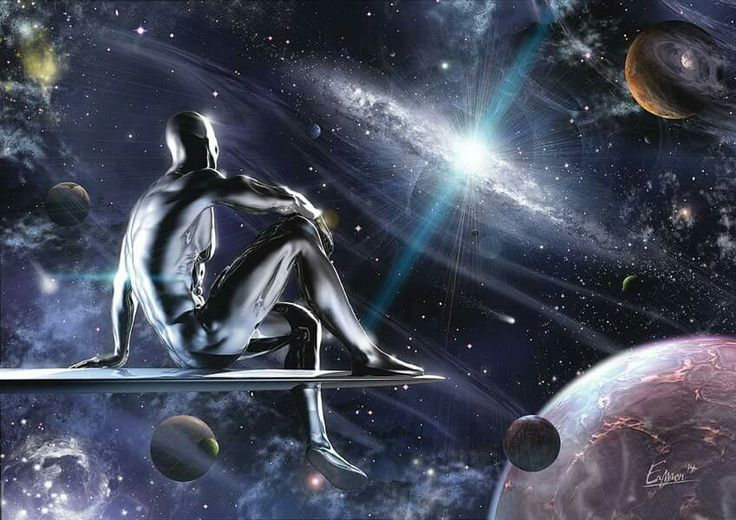 The Silver Surfer gazing at interstellar space.