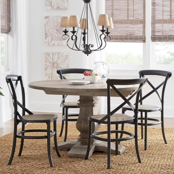 Home Decorators Collection Aldridge Antique Grey Round Dining Table Nb024ag The Home Depot Grey Round Dining Table Round Dining Table Dining Table Makeover