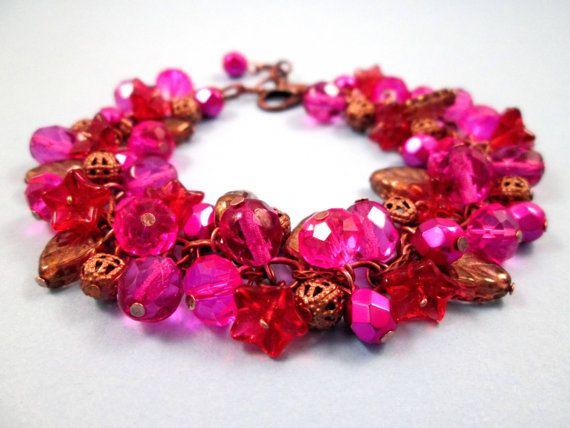 Bloem armband Cherry Berry boeket kleurrijk en door justCHARMING
