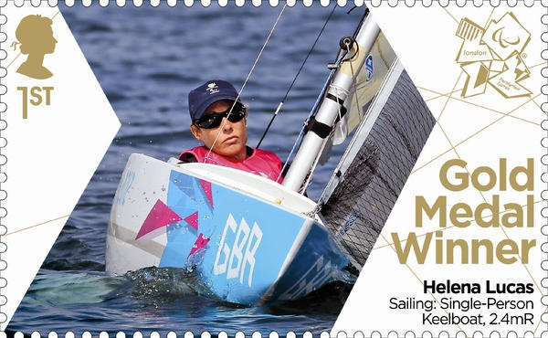 Paralympics Gold Medal Winner stamp - Sailing: Single-Person Keelboat, 2.4mR, Helena Lucas.
