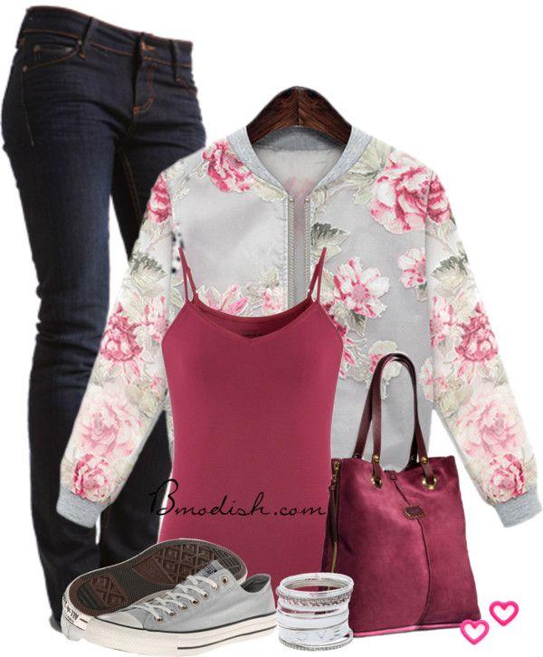 floral sweatshirt outfit bmodish