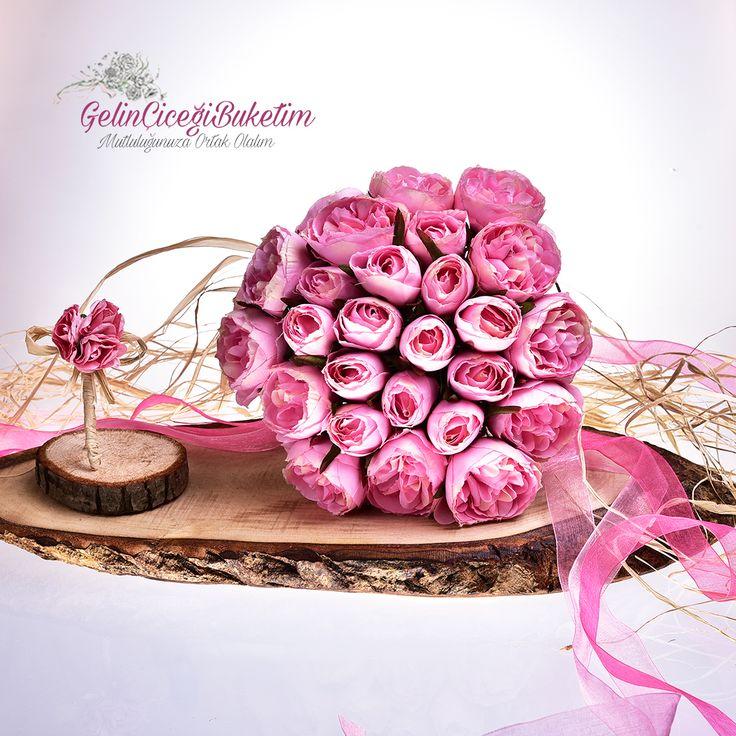 Pembe Güller Gelin Çiçeği Buketi ve Damat Yaka Çiçeği (2'li Set)