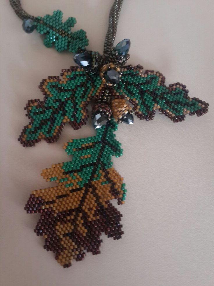 Leaf oak miyuki Sonbahar kolye