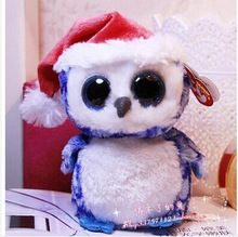 ty kerst blauwe grote ogen uil knuffel knuffel(China (Mainland))