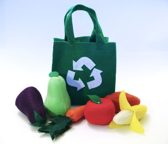 Felt Food Fruits and Veggies Bag Set by TheFeltersMarket on Etsy