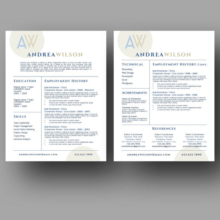 Best Two Page Resume Template Cv Template Images On