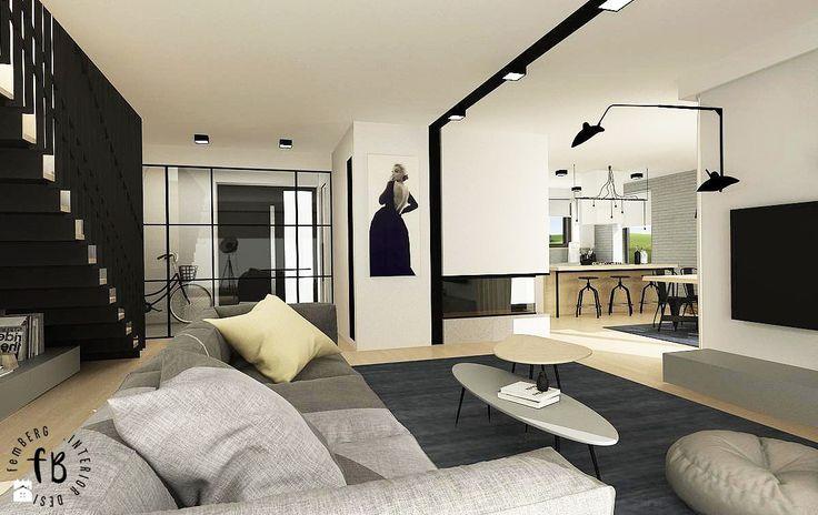 Strefa dzienna w domu jednorodzinnym - zdjęcie od Femberg Architektura Wnętrz - Salon - Styl Skandynawski - Femberg Architektura Wnętrz