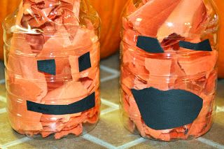 Water Bottle Pumpkin Jack-O-Lantern.  Fill empty water bottle with scraps of orange paper or tissue paper. Glue on black construction face.