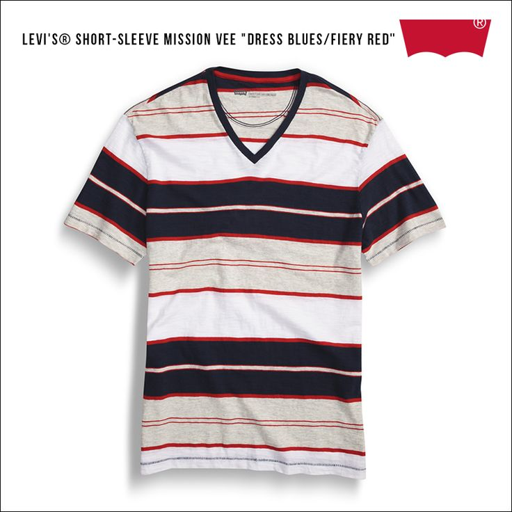 "Levi's® Short-Sleeve Mission Vee ""Dress Blues/Fiery Red"""