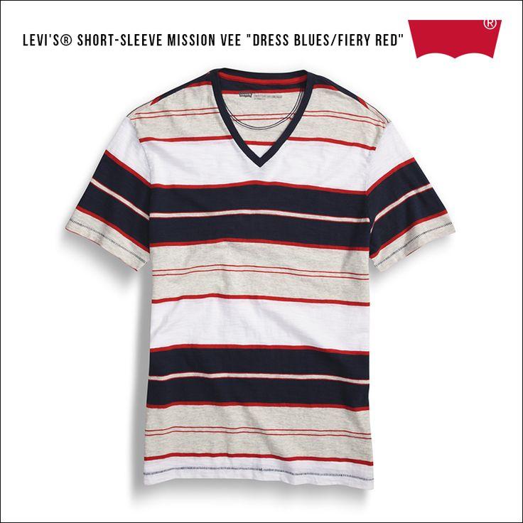 "Levi's® Short-Sleeve Mission Vee ""Dress Blues/Fiery Red"""