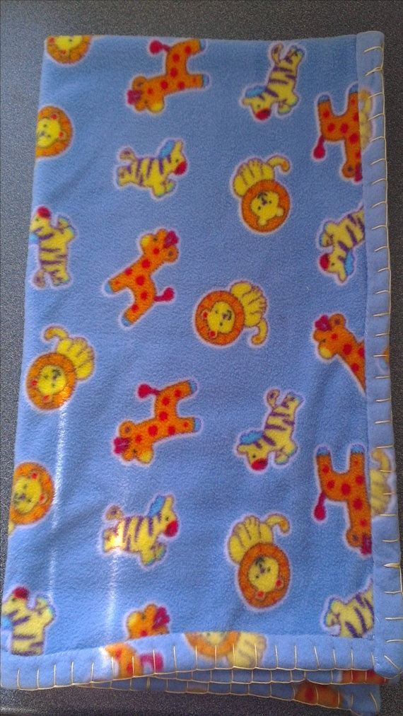 Fleece Baby Blanket Jungle Animals by ClairesCrafts1 on Etsy, £10.00