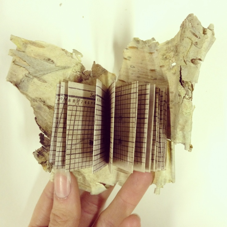 Small book made with silver birch bark with typed story.